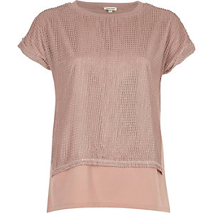 Light pink mesh layered T-shirt