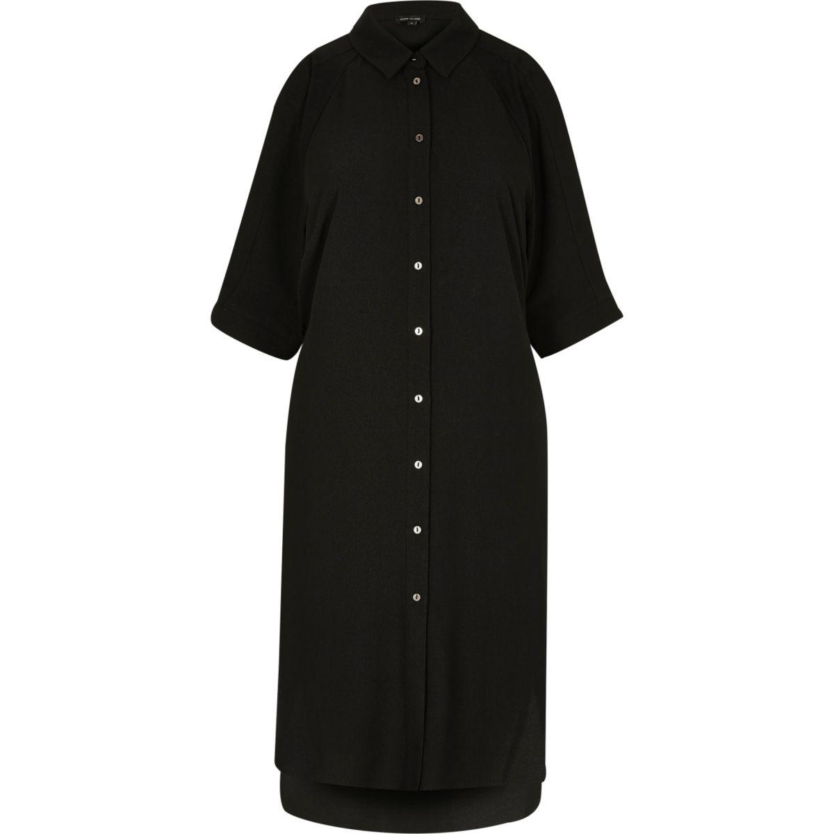 Black cold shoulder shirt dress