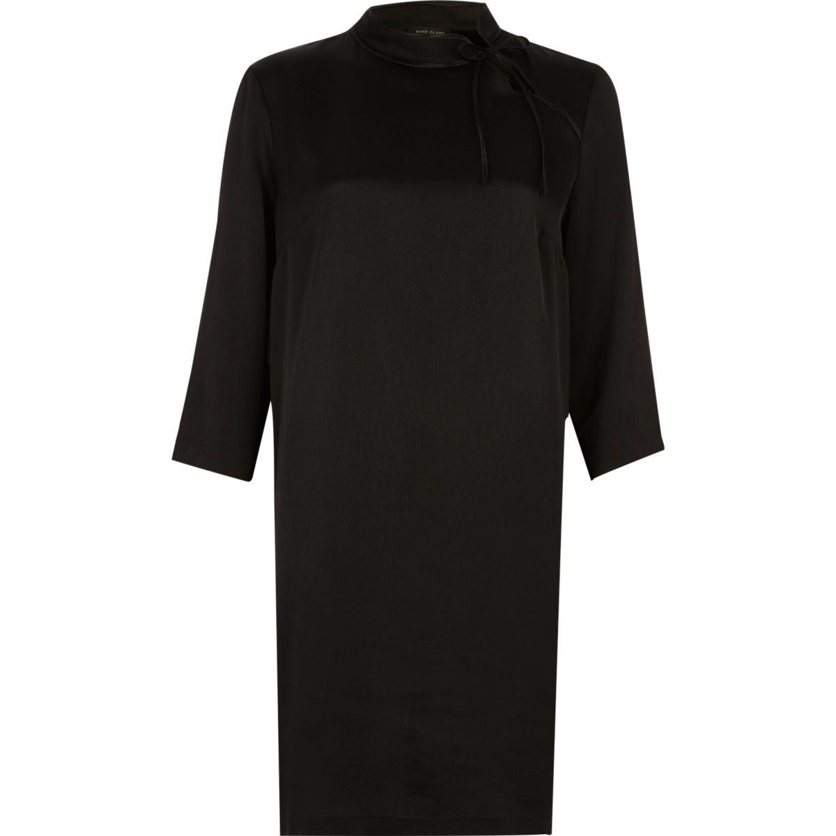 Schwarzes Swing-Kleid mit Bindeband