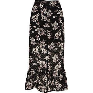 Black floral print frill hem midi skirt