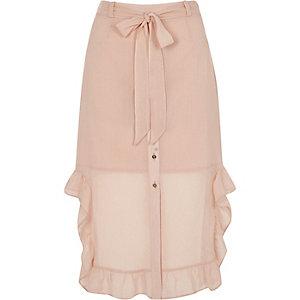 Light pink chiffon frill hem button-up skirt