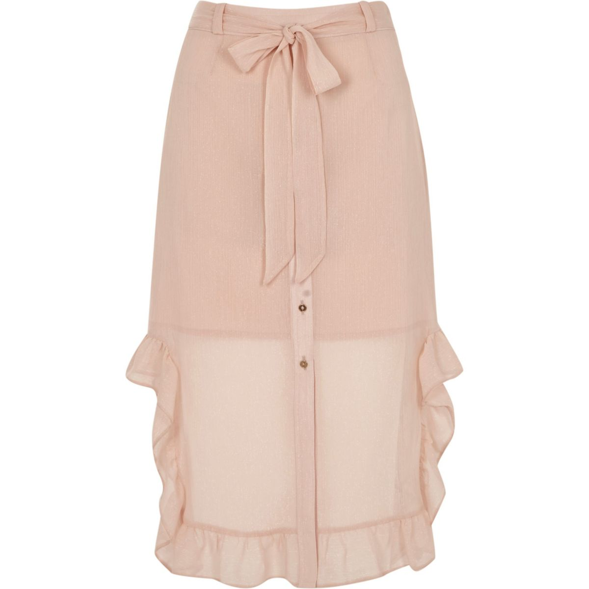 Light pink chiffon frill hem button-up skirt