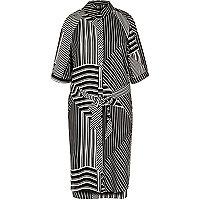 Black stripe print cold shoulder shirt dress