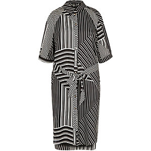 Black stripe shirt dress