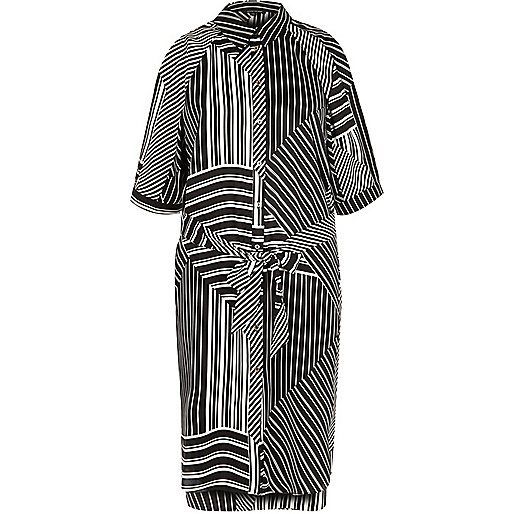 Black stripe print cold shoulder shirt dress