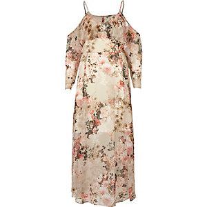 Cream floral print midi dress
