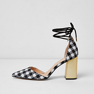 Black gingham tankle tie block heel sandals
