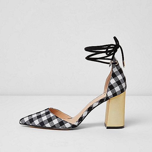 Black gingham tankle tie block heel sandals