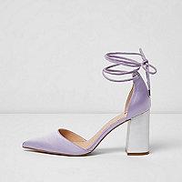 Purple satin ankle tie block heel sandals