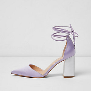Purple satin ankle tie block heel sandals