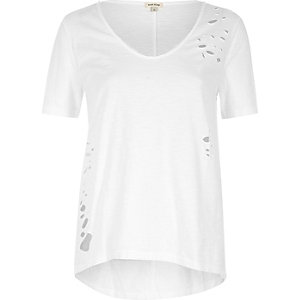 White distressed longline T-shirt