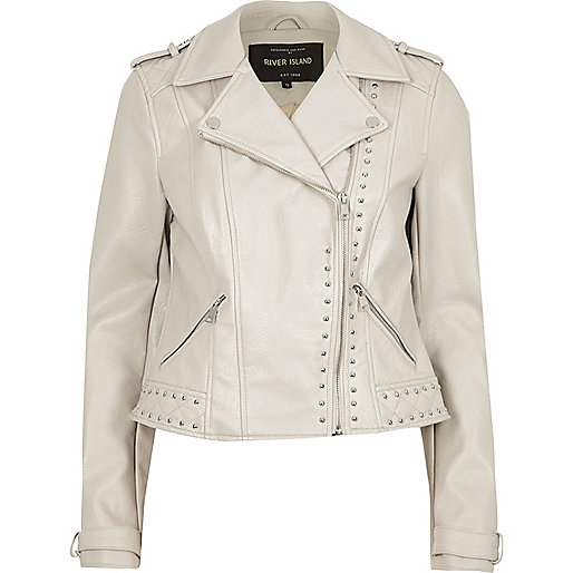 Cream faux leather studded biker jacket
