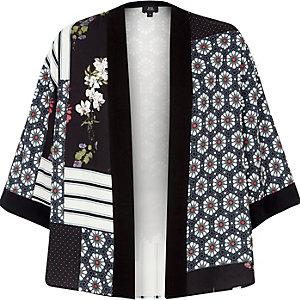 Zwarte cropped kimono met panelen met print