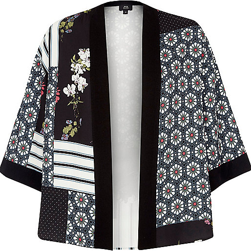Black panel tile print cropped kimono