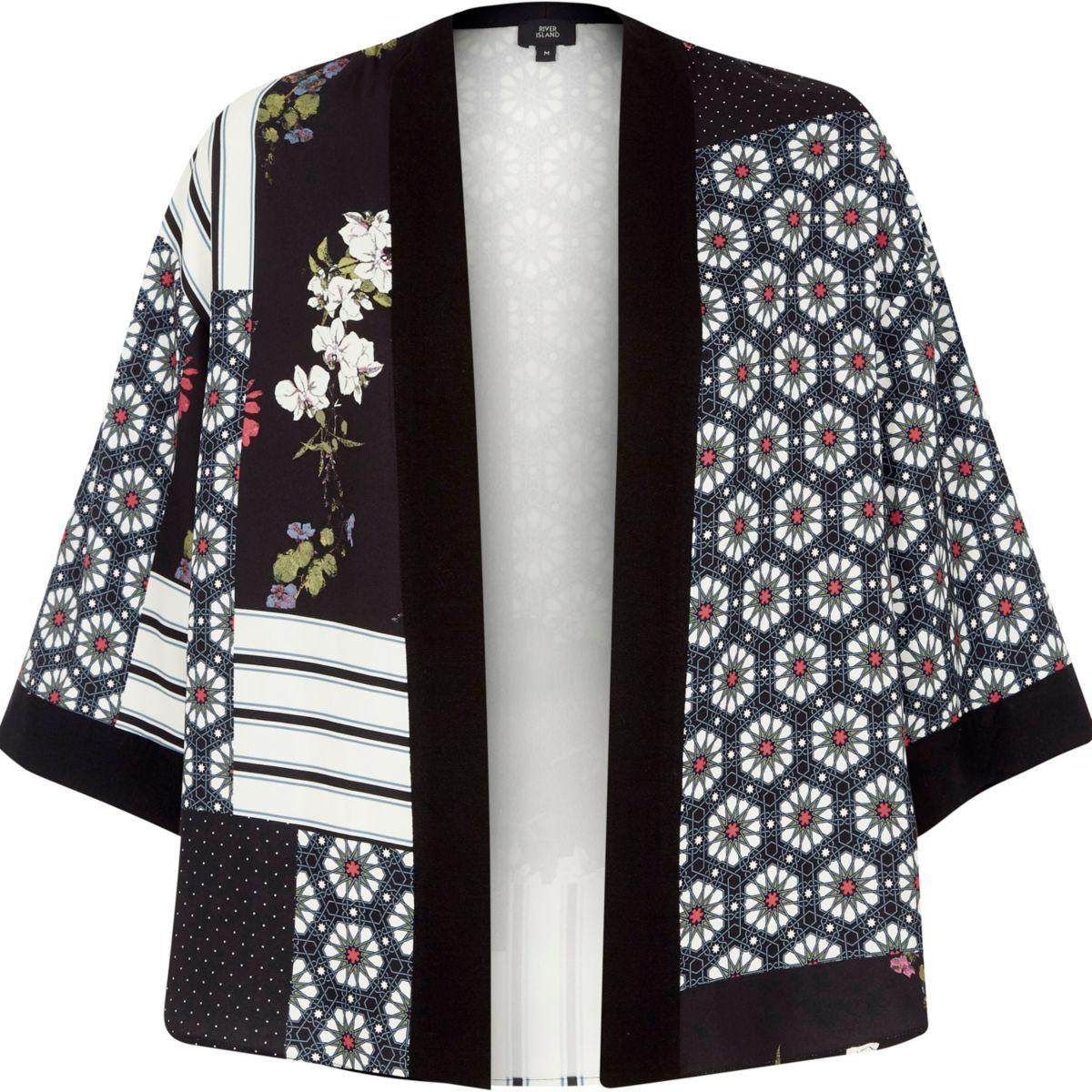 Schwarzer, kurzer Kimono mit Kachelmuster
