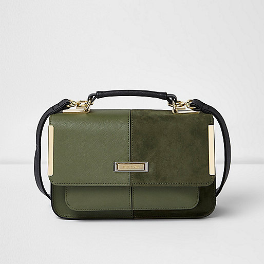 Khaki green textured mini satchel bag