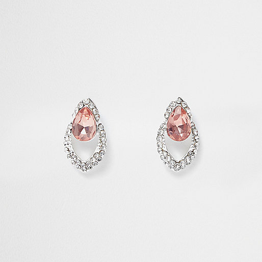 Silver tone diamanté pink gem drop earrings