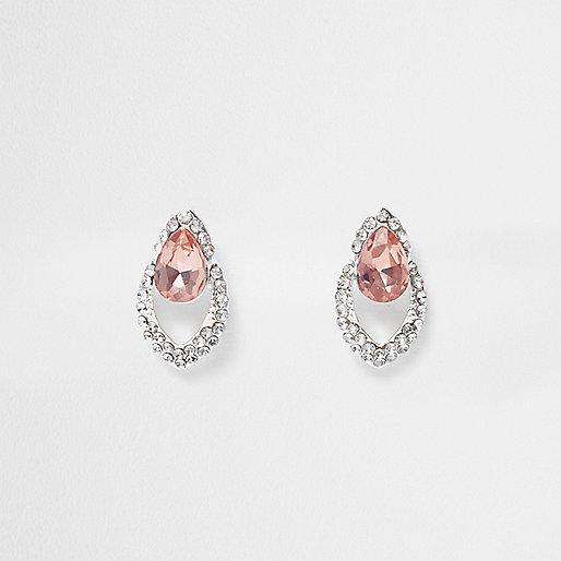 Pendants d'oreilles argentés ornés de strass et pierres roses