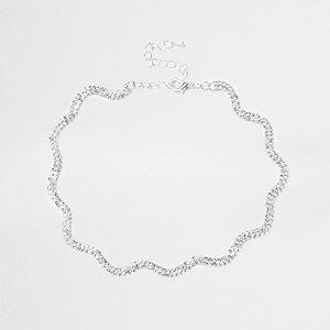 Zilverkleurige golvende chokerketting