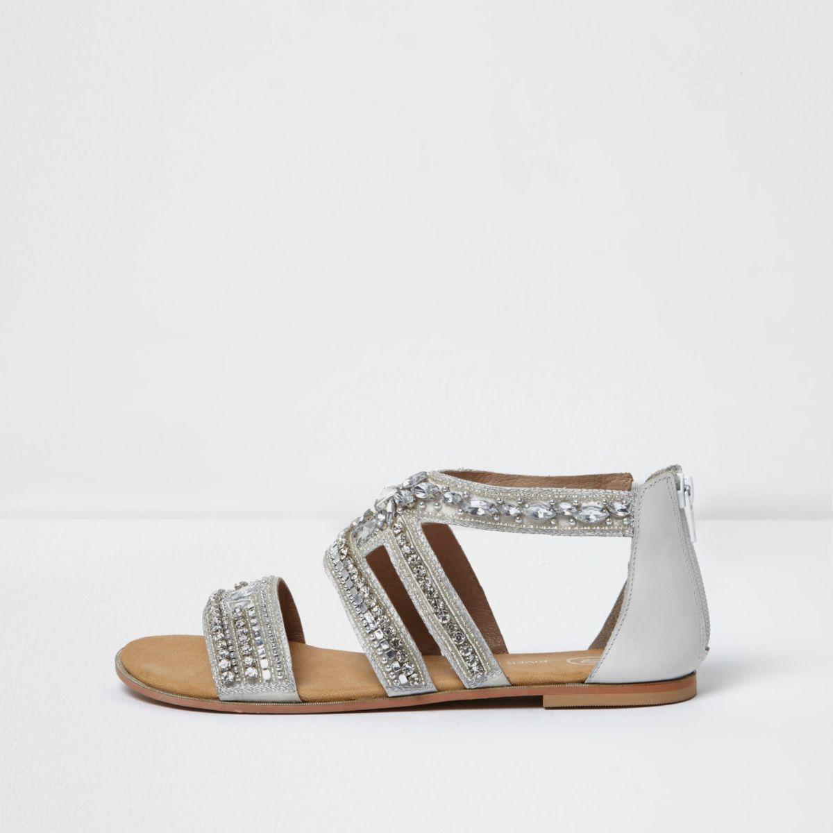 Silver embellished sandals