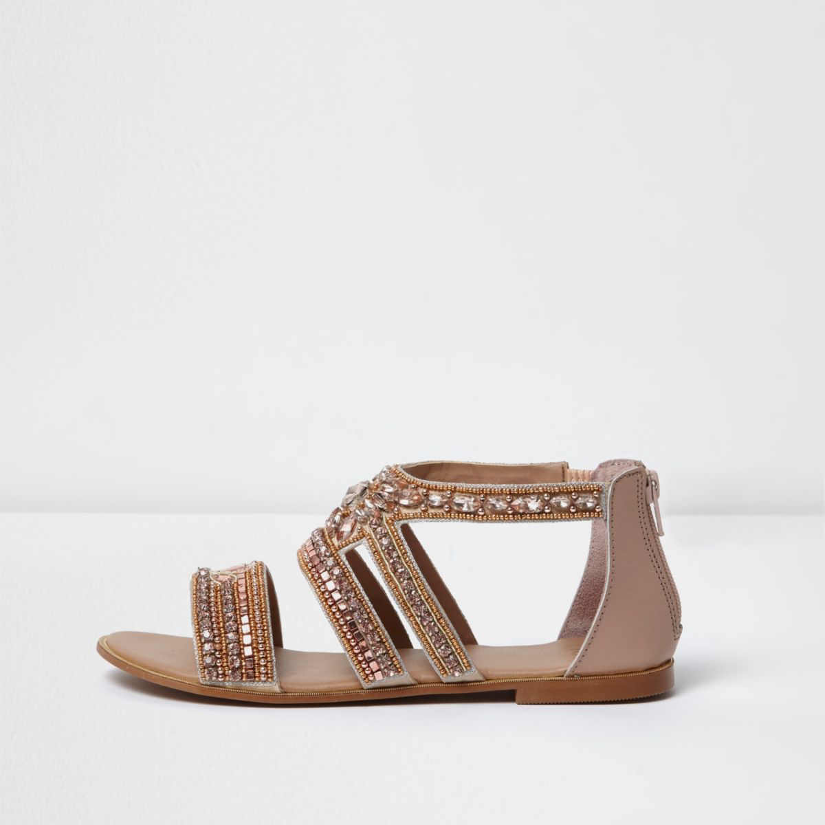 Rose gold embellished multi strap sandals