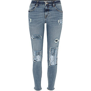 Blue sequin Alannah relaxed skinny jeans