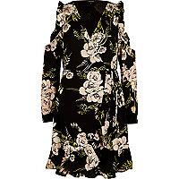 Black floral frill cold shoulder wrap dress