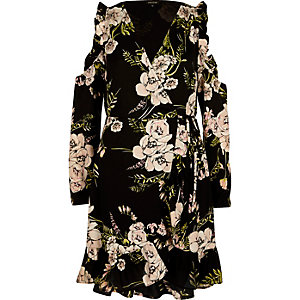 Black floral frill cold shoulder wrap dress