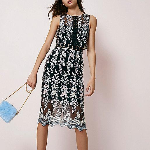 Black embroidered sleeveless bodycon dress
