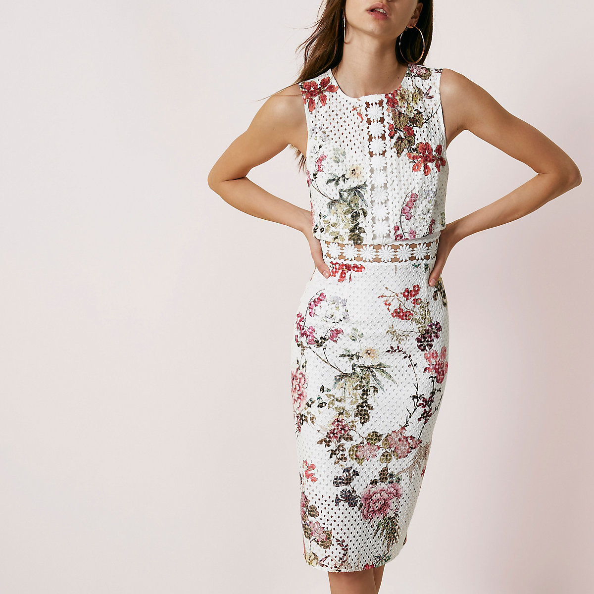 Cream floral print lace bodycon midi dress