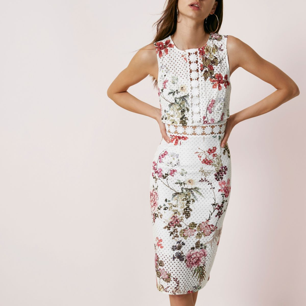 Cream floral print lace bodycon midi dress
