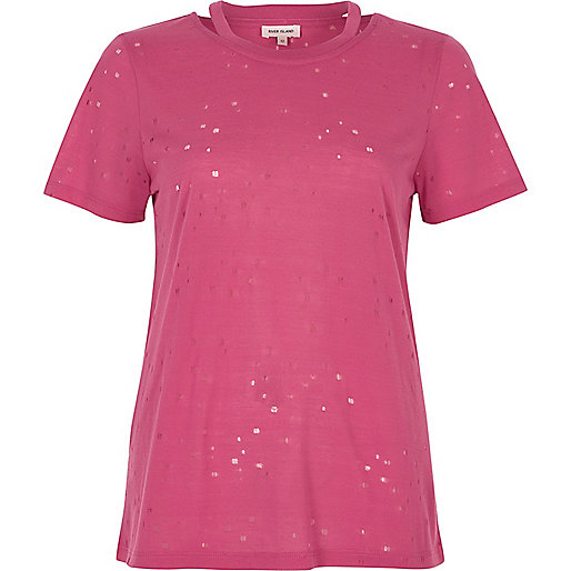 Pink distressed T-shirt