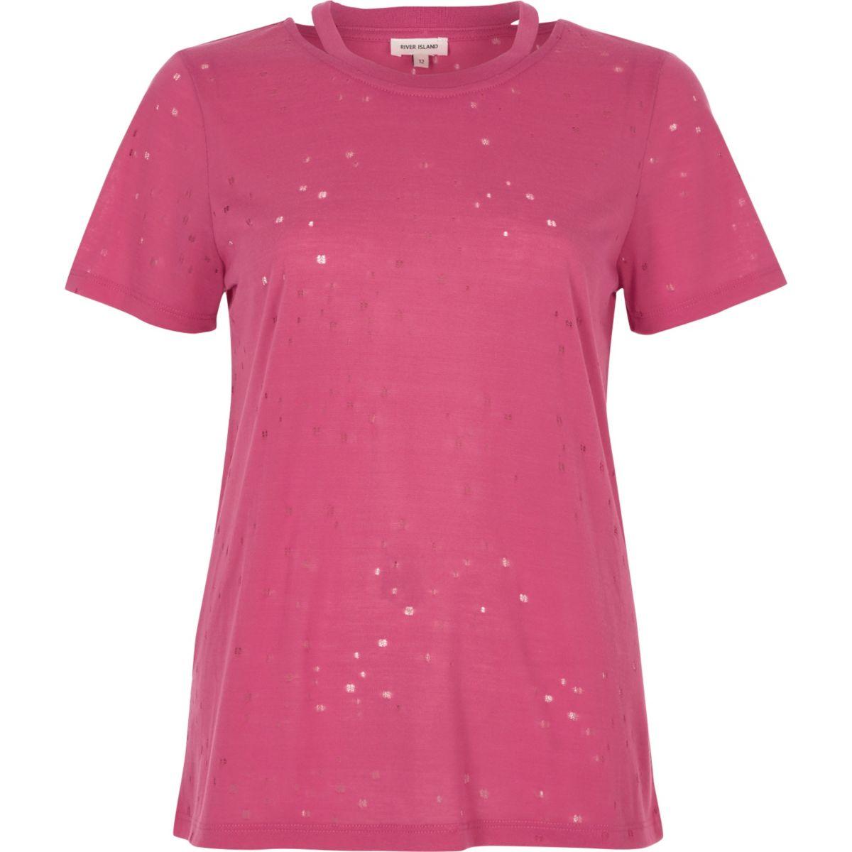 T-shirt rose aspect usé