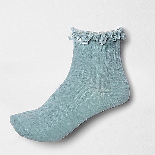 Chaussettes bleu sarcelle à volant en dentelle