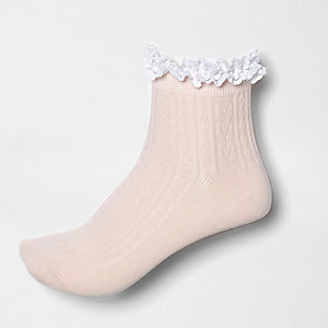 Light pink lace frill socks