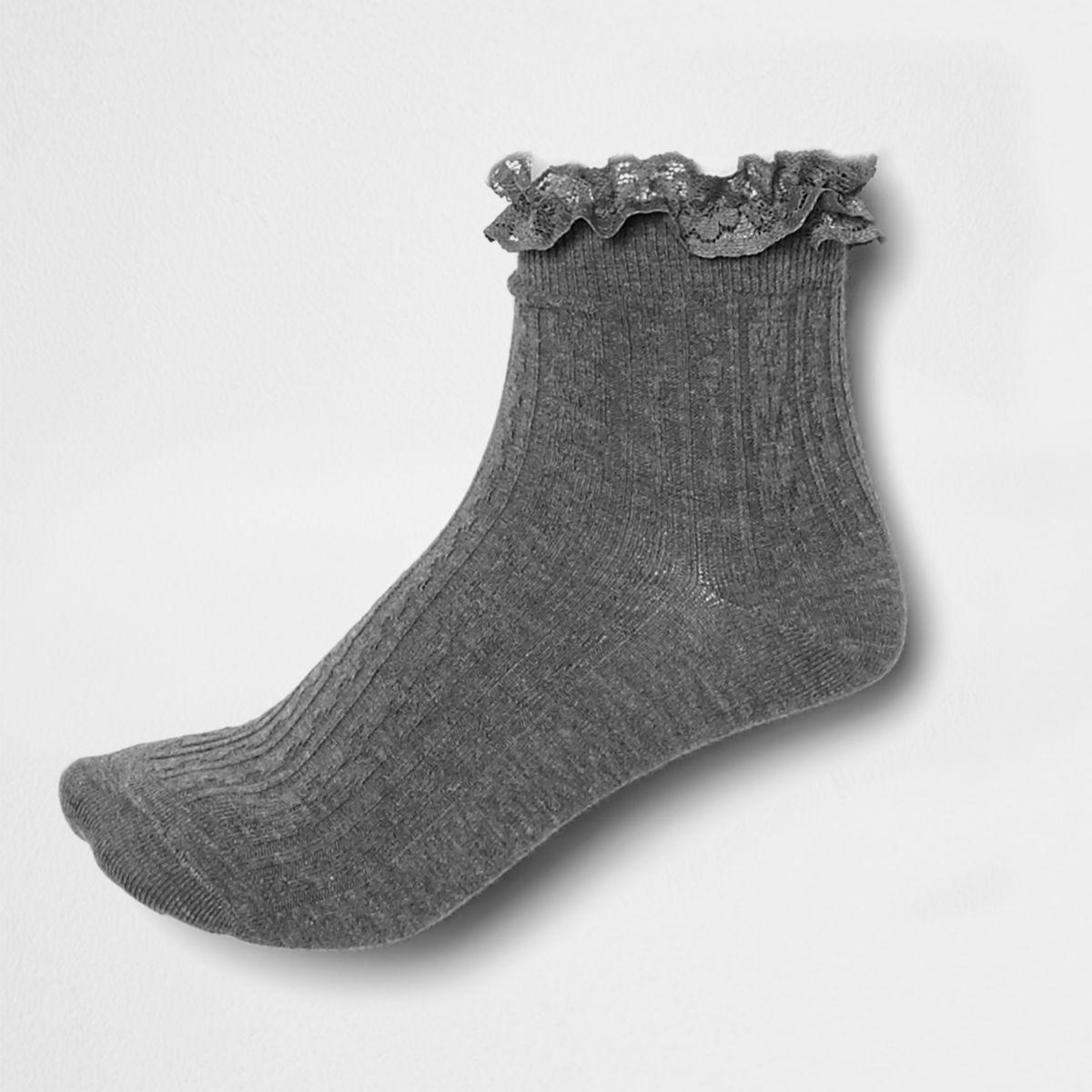 Grey lace frill socks