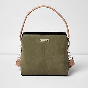 Khaki green mini structured bucket bag