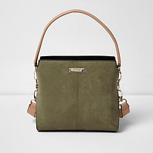Khaki green mini structured bucket bag