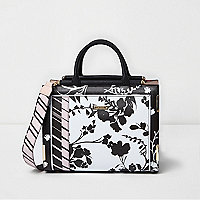 Black and white floral top bar tote bag