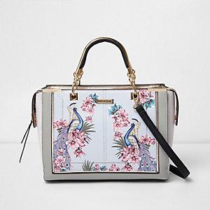 Grijs- en goudkleurige handtas met bloemenprint en paneel