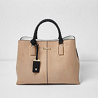 Beige soft structured tote bag