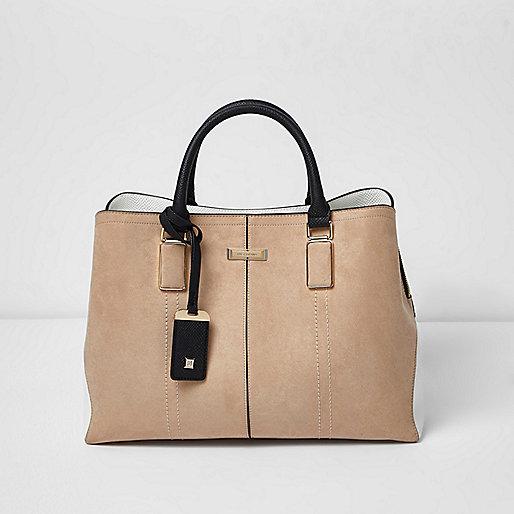 Beige zachte handtas met structuur
