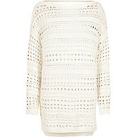 White open stitch sweater