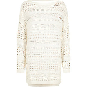 White open stitch sweater