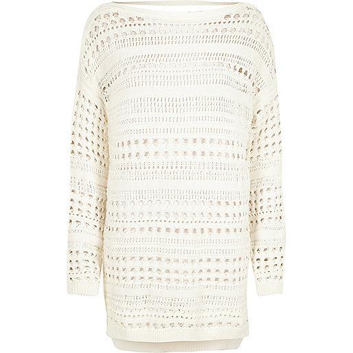 White open stitch jumper