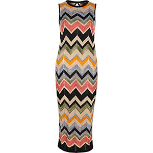 Black knit multi colored chevron midi dress