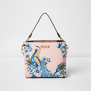 Pink peacock underarm bucket bag