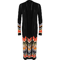Black chevron side split longline cardigan