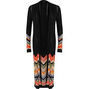Black chevron side split longline cardigan