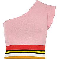 Pink knit stripe one shoulder crop top